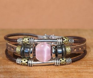Bracelet cuir femme OEIL DE CHAT - Ajustable ROSE