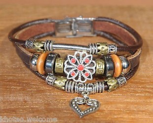 Bracelet cuir femme COUNTRY - Charms & Perles - taille ajustable