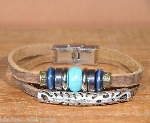 Bracelet cuir et pierre  HOWLITE ET METAL +de 10 sortes de pierre Taille ajustable