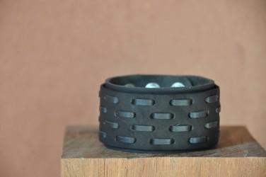 bracelet-en-cuir-GROSSE COUTURE-large-homme NOIR