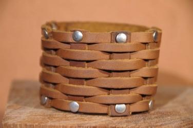 Bracelet cuir tressé MACRAME - camel