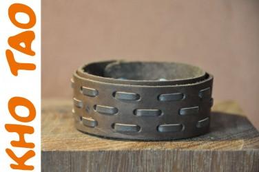 Bracelet en cuir moyen GROSSE COUTURE marron