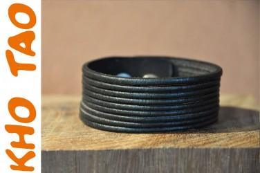 Bracelet femme en cuir - Noir - MULTI-BANDES SIMPLE