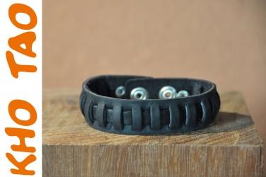 Bracelet en cuir TRESSE CARRE MODERNE - NOIR
