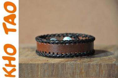 Bracelet cuir fin SURPIQURE COTON HUILE - MARRON