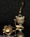 Boucles d'oreille CHAT + de 60 DESIGNS métal doré patiné COULEUR BRONZE boucle