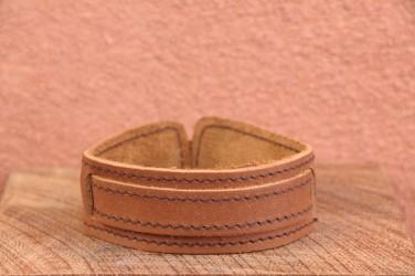 Bracelet cuir de force 1 BANDES BOUCLE - Homme & Femme & Ado Camel