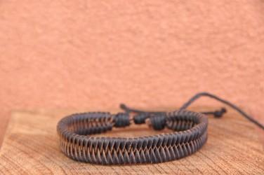 Bracelet cuir et corde fin SNAKE - taille ajustable +de 200 réf cuir Foncé