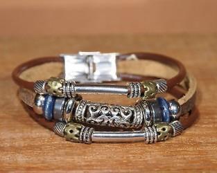 Bracelet cuir femme PERLE ACIER METAL ajourée