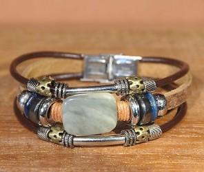 Bracelet cuir PIERRE AGATHE - perles  +de 20modèles pierre