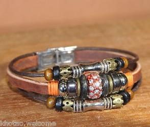 Bracelet cuir femme PERLE STRASS PANDORA
