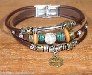 Bracelet cuir femme PIERRE AGATHE & CHARMS CHANCE