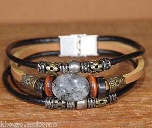 BRACELET CUIR quartz rutile - CHARMS & PERLES & METAL - taille ajustable