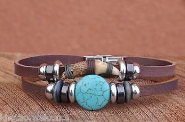 Bracelet cuir et PIERRE HOWLITE ET DENT - Tribal Indien Country - Ajustable