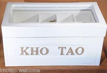 BOITE A BIJOUX bois à compartiments - peinture cérusée BLANC - Déco salle de bains