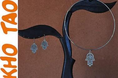 Boucles d'oreilles et collier & pendentif MAIN DE FATMA ou FATIMA porte BONHEUR