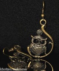 Boucles d'oreilles CHOUETTE HIBOUX 5 DESIGNS métal doré patiné CLIPS ADAPTABLE
