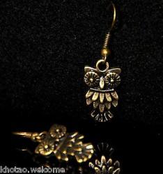 Boucles d'oreille CHOUETTE HIBOUX 5 DESIGNS métal doré patiné CLIPS ADAPTABLES