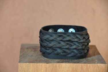 BRACELET EN CUIR / DE FORCE - NOIR ou MARRON - HOMME 3 TRESSES +DE 200DESIGNS