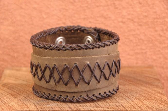 Bracelet cuir ET CORDE huilée de force - Homme - marron vert