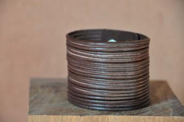 Bracelet en cuir Femme MULTI LANIERES LARGE - marron