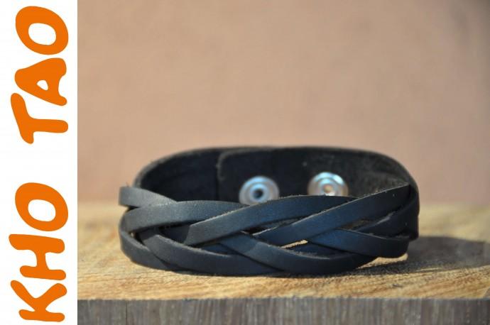 Bracelet en cuir extra mat  SIMPLE TRESSE NOIR