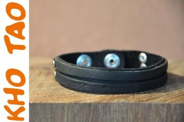 Bracelet fin en cuir 2 BANDES RIVETS NOIR