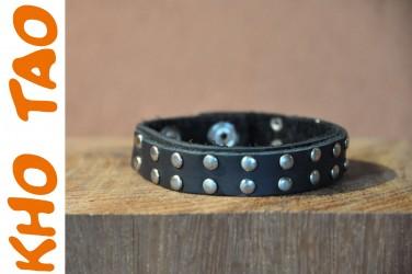 Bracelet en cuir fin DOUBLE RANG DE RIVETS - Homme & femme Ajustable