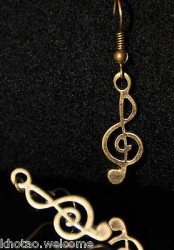 Boucles d'oreille CLEF DE SOL + de 60 DESIGNS métal doré COULEUR BRONZE musique