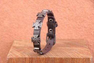 Bracelet en cuir CROIX CHOPPER - HOMME & FEMME