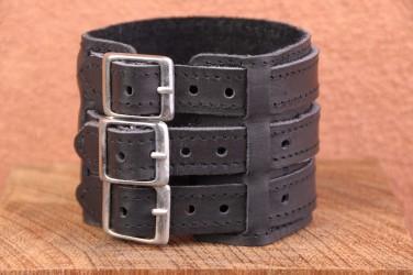Bracelet de force en cuir 3 BANDES LANIERE ET BOUCLES - noir