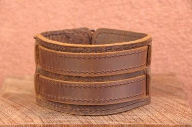 Bracelet de force en cuir 2 BANDES 2 LANNIIERES - marron huilé clair