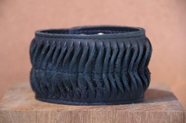 Bracelet en cuir large SNAKE - Homme ou Femme NOIR