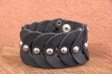 Bracelet cuir MULTI RONDS RIVETS original NOIR