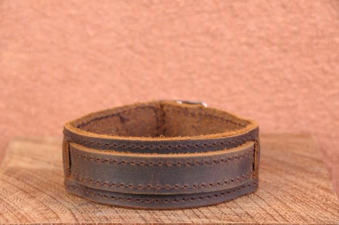 Bracelet cuir de force 1 BANDES BOUCLE - Homme & Femme & Ado Marron huilé foncé