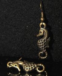 Boucles d'oreille HIPPOCAMPE + de 60 DESIGNS métal doré patiné COULEUR BRONZE
