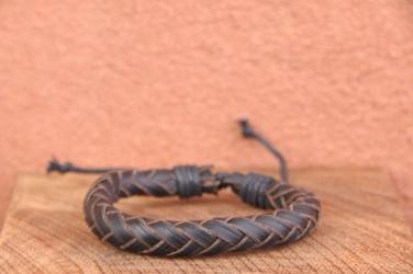 Bracelet cuir et corde JONC SIMPLE - Taille ajustable Marron Foncé