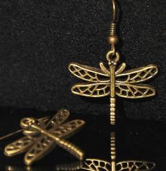 Boucles d'oreille LIBELLULE + de 60 DESIGNS métal doré COULEUR BRONZE libellule