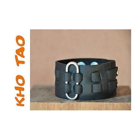 Bracelet cuir de force - Noir - Homme EPINGLE + de 200 Designs